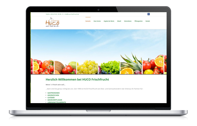 Huco Frischfrucht, Website, Flyer, design
